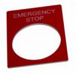 Табличка маркировочная EMERGENCY STOP красная прямоугольная